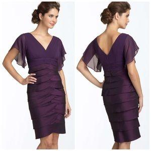 Adrianna Papell Sz 6 Flutter Sleeve Tiered Dress